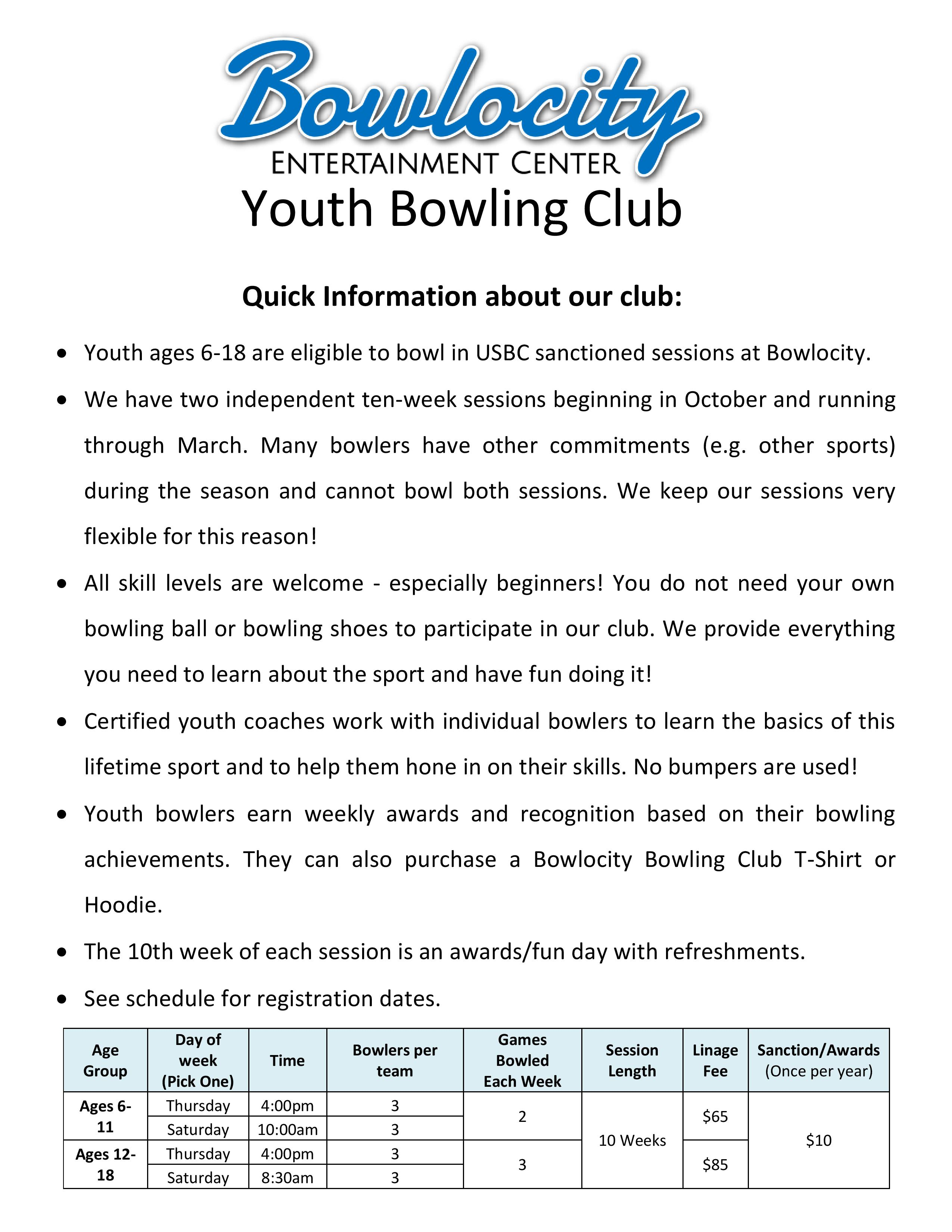 youth bowling info